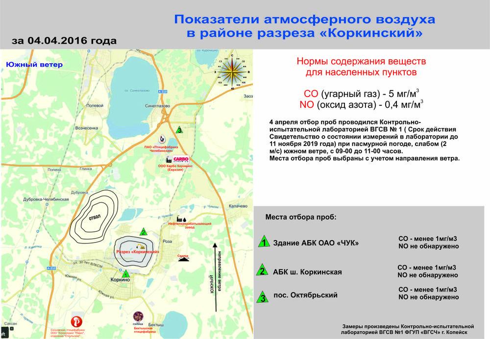 "Показатели атмосферного воздуха в зоне влияния разреза ""Коркинский"" 04.04..2016"