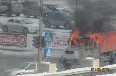 В Коркино загорелся мусоровоз