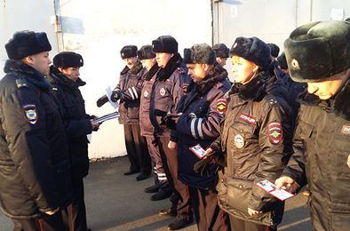 Полицейские Коркино провели строевой смотр
