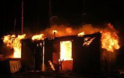 В Дубровке загорелся бытовой вагончик